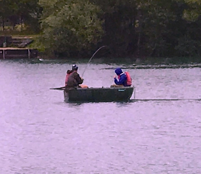 James Hayden out in the boat doing battle with a monster.
