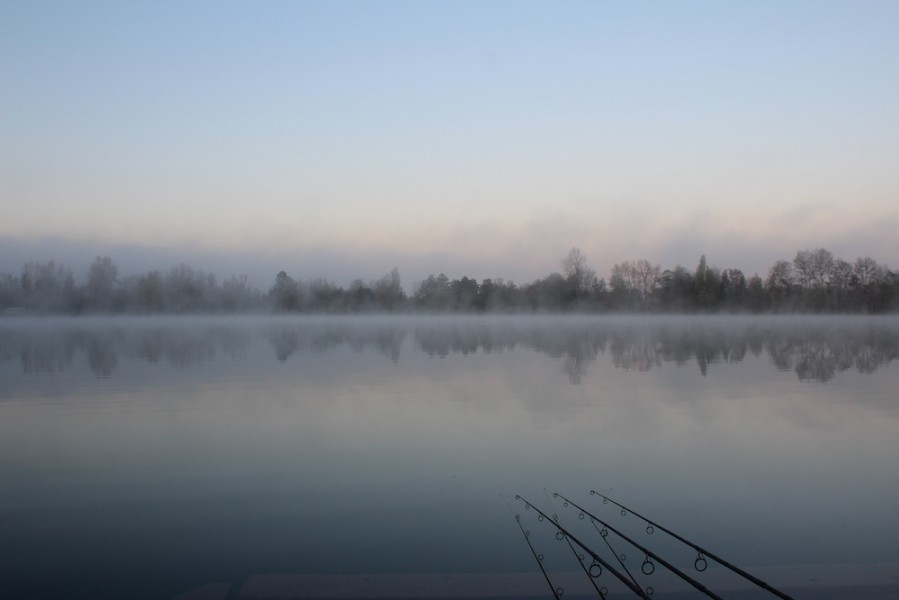 A beautiful misty morning over the Main Lake